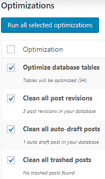 wp-optimize settings