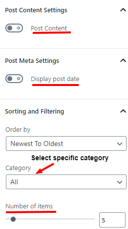 display options for posts block in WordPress page