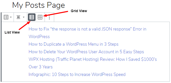 List view and grid options for posts