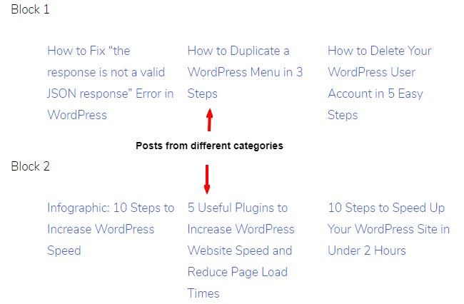 display posts from multiple categories in WordPress page