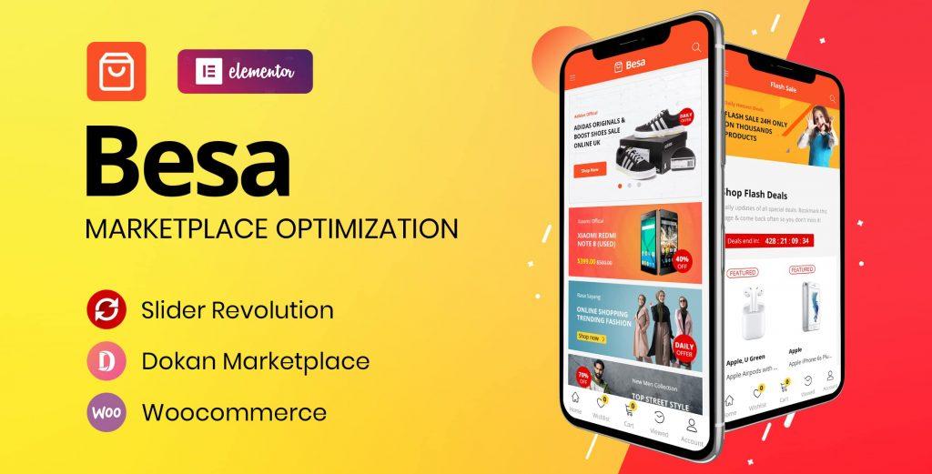 Besa marketplace woocommerce elementor theme