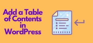 Add Table of Contents in WordPress