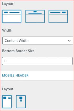 Astra theme header settings