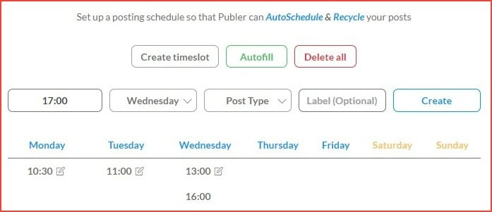 Publer scheduling settings
