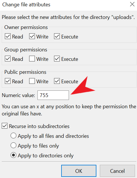 WordPress uploads file permissions