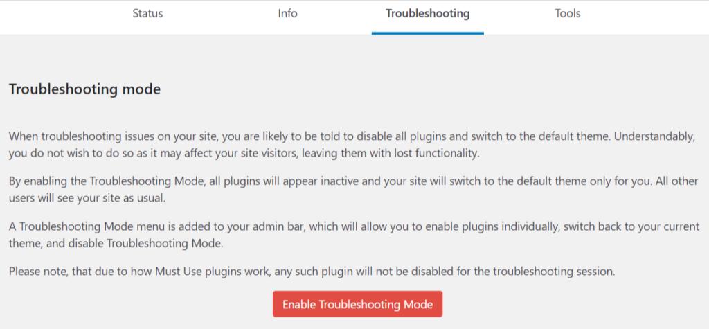 Enable WordPress troubleshooting mode