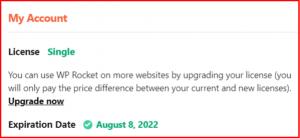 wp rocket license activation