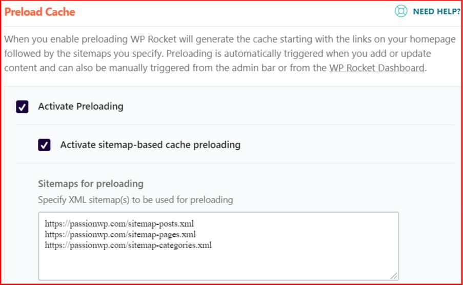 Preload cache settings in WP Rocket