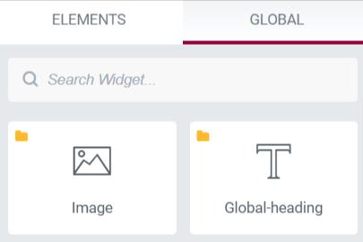 Global widgets in Elementor