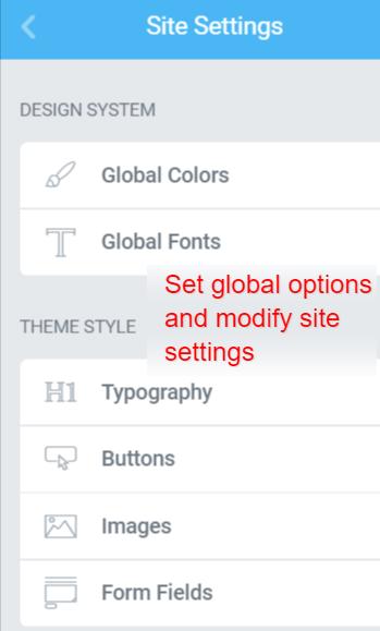 Modify site settings in Elementor
