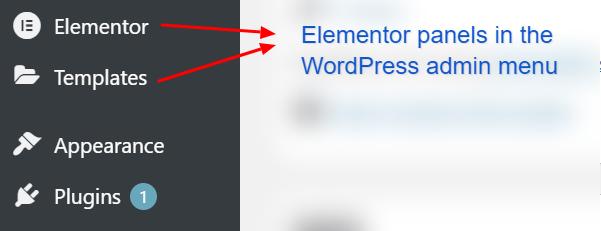 Elementor settings panels in WordPress