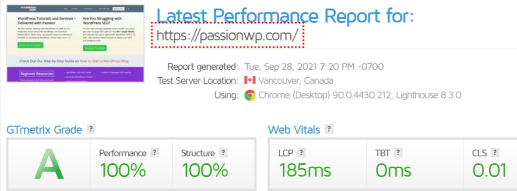 PassionWP GTmetrix results